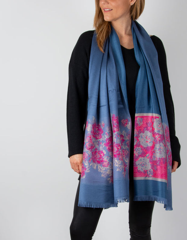 showing a Pink & Blue Floral Print Pashmina