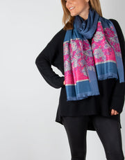 Image showing a Pink & Blue Floral Print Pashmina
