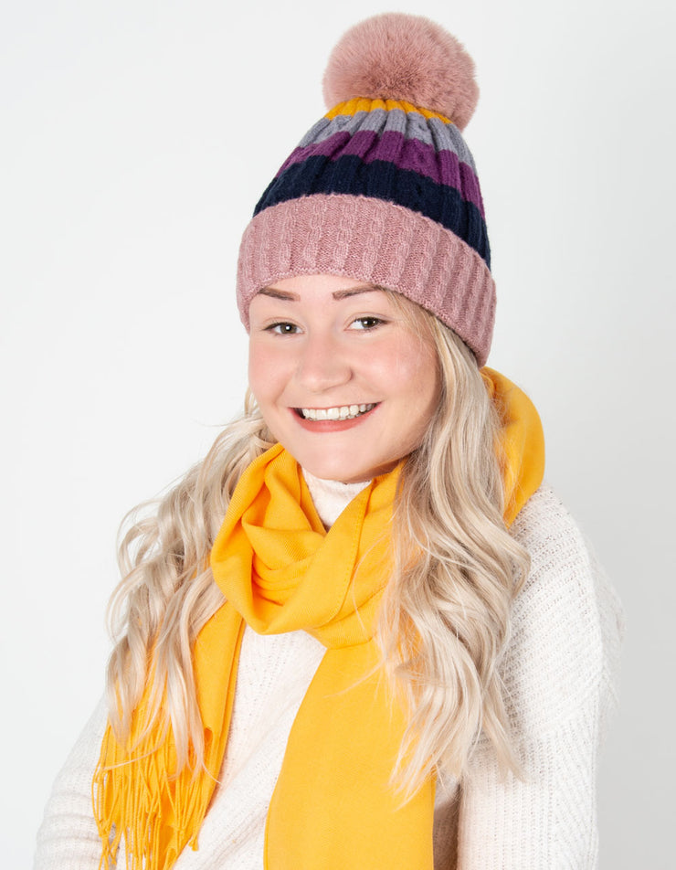 Pink Bobble Hat Striped