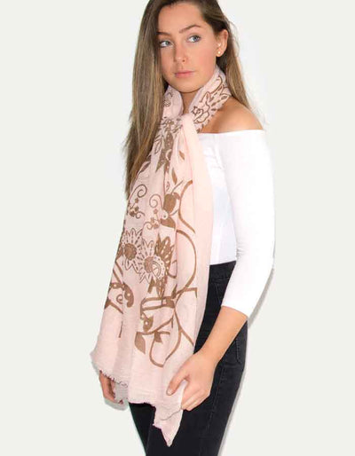 an image showing a pink butterfly print scarf