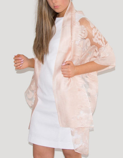 an image showing a lace panel pashmina in pale pink