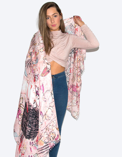 an image showing a pink floral portrait scarf