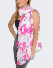 Pink Flowers Italian MicroModal Scarf