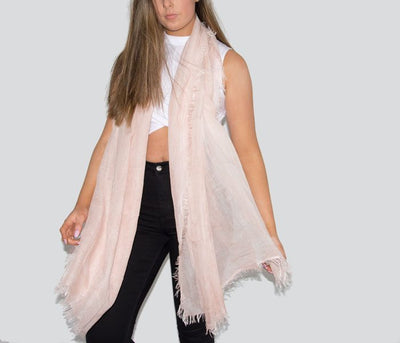 Pink Fringed Italian MicroModal Scarf