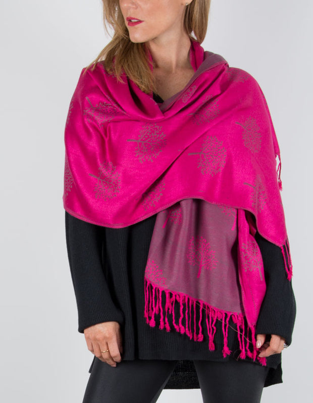 Image Showing a Pink Reversible Pashmina with a Tree Print
