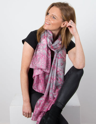 Image showing a Pink Silk Scarf Leaf Print