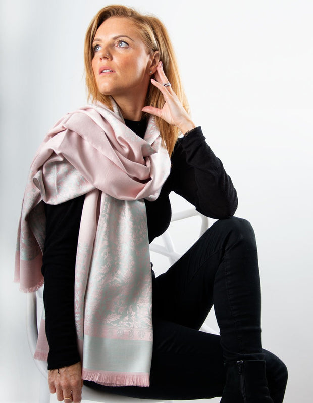Grey And Pink Floral Print Pashmina