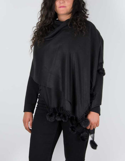 an image showing a pashmina with pom poms in black