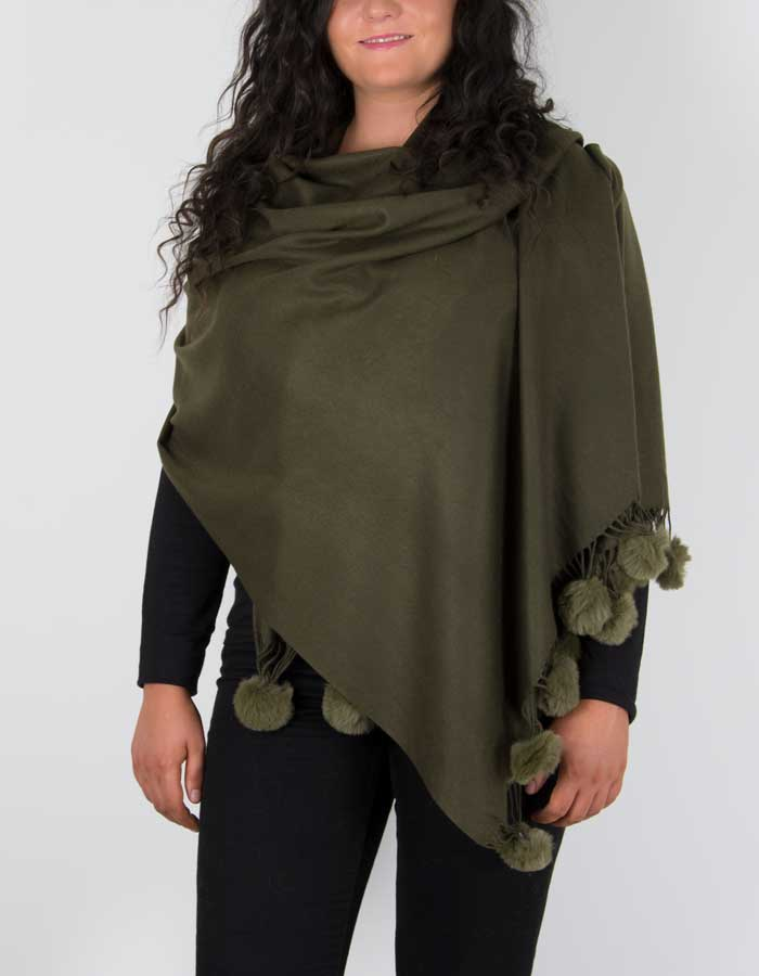 an image showing a pashmina with pom poms in khaki green