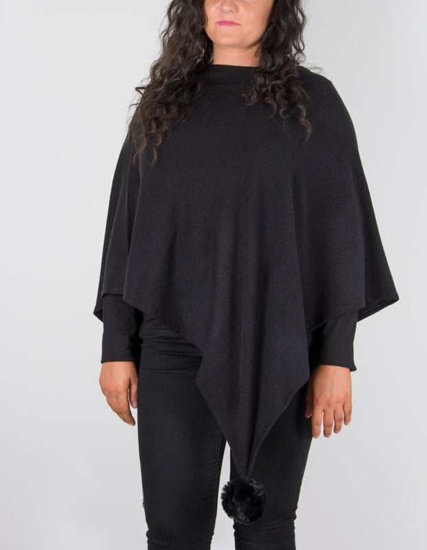 A poncho in black
