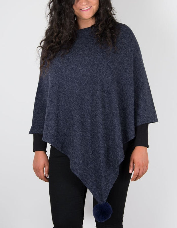 An image of a navy blue poncho