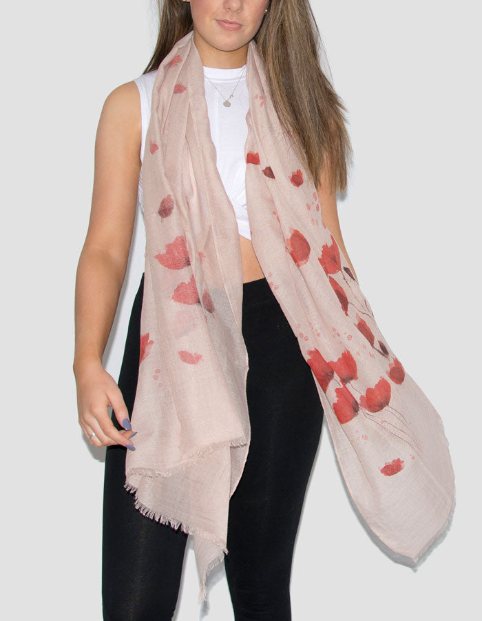 Floral Print Scarf - Poppies - Beige and Red