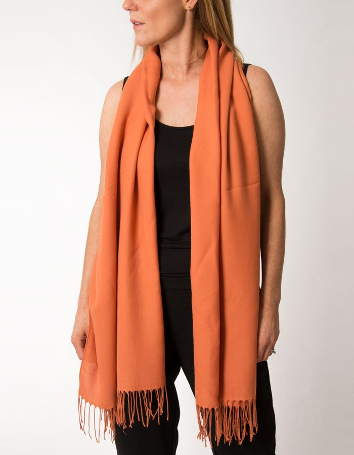 An image showing a pumpkin orange pashmina