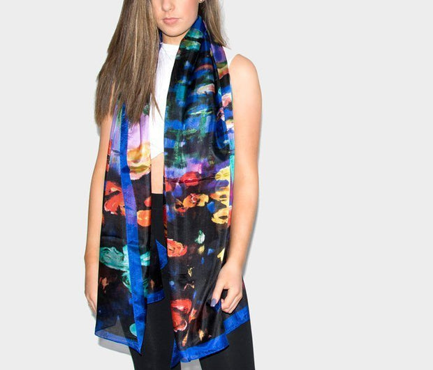 Silk Scarf - Blue Red Purple Abstract Print