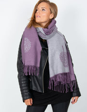 an image showing a purple and grey mulberry print blanket scarf