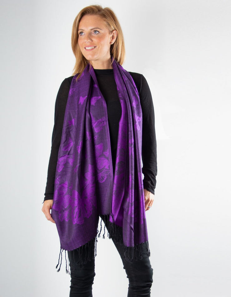 Purple Butterfly Pashmina