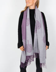 an image showing a purple pashmina mulberry tree print