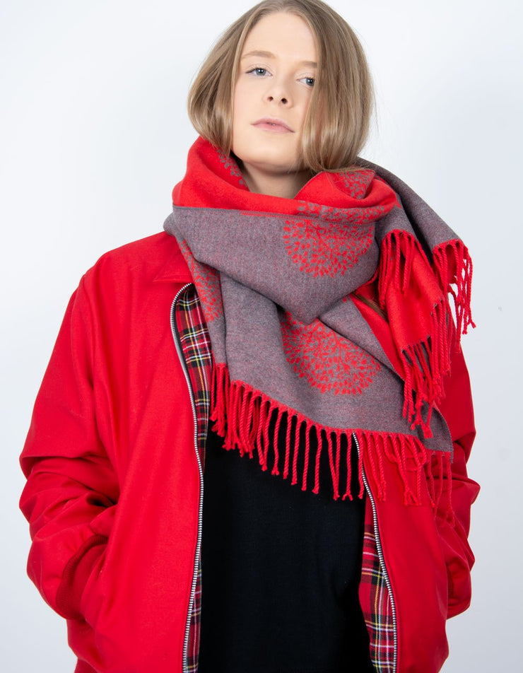 an image showing a red and grey mulberry print blanket scarf