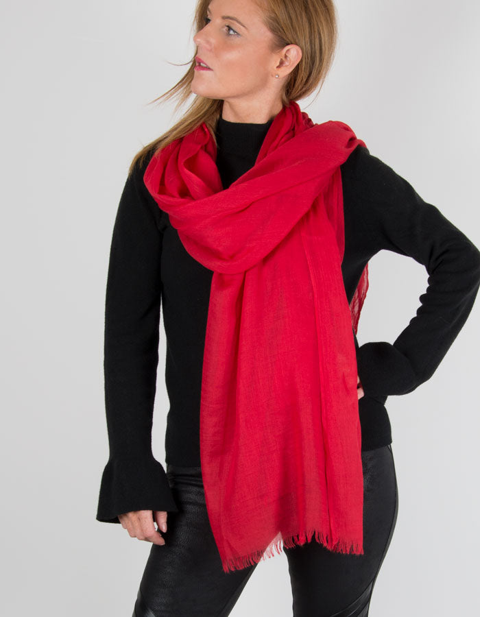 Red Lightweight Scarf Pashmina