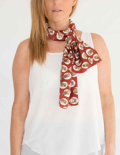 an image showing a red owl print scarf