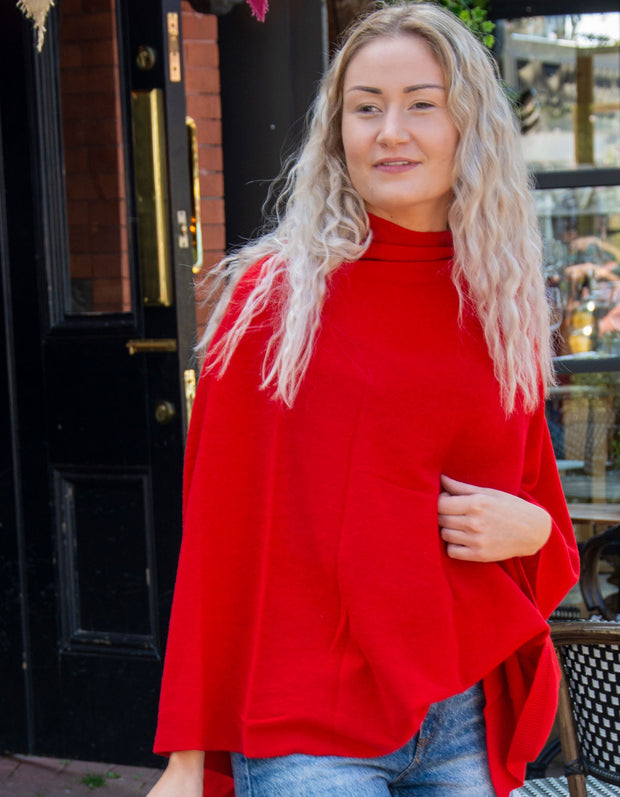 Red Poncho Cashmere Mix