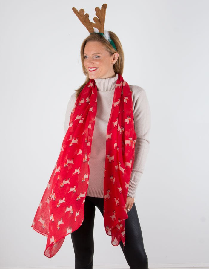 an image showing a Red Rudolph Christmas Scarf