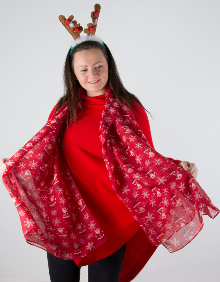 an image showing a red Santa scarf