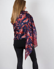Image showing a Red Silk Scarf Leaf Print