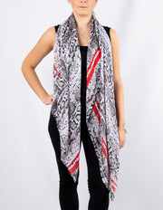 Red Stripe Snake Print Scarf