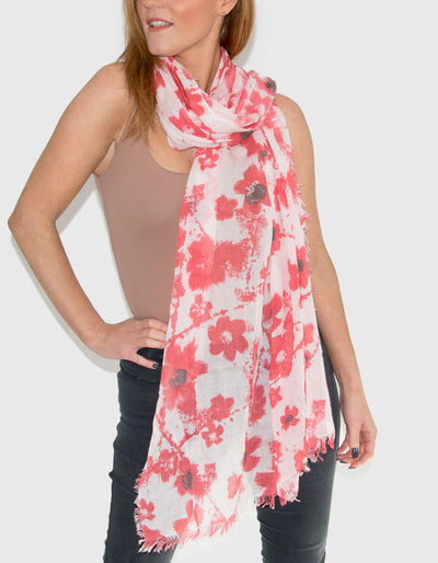 an image showing a red and white floral scarf