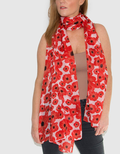 Red And White Poppies Scarf