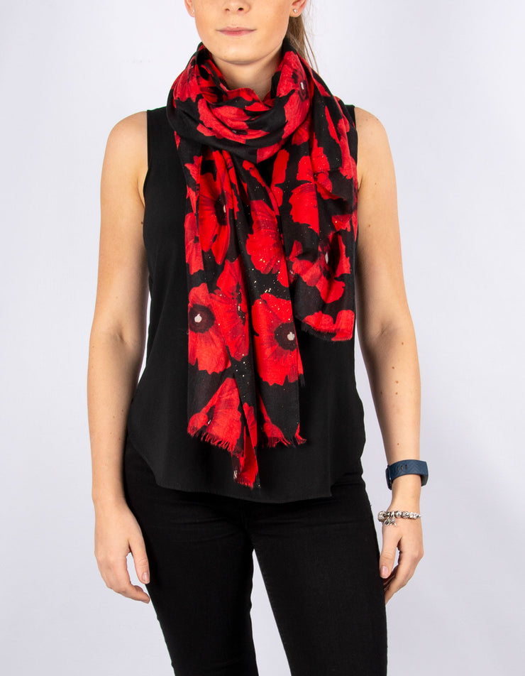 Red & Black Sparkle Poppies Scarf