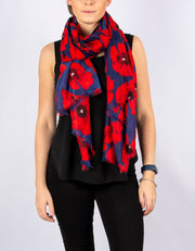 Red & Blue Poppies Scarf