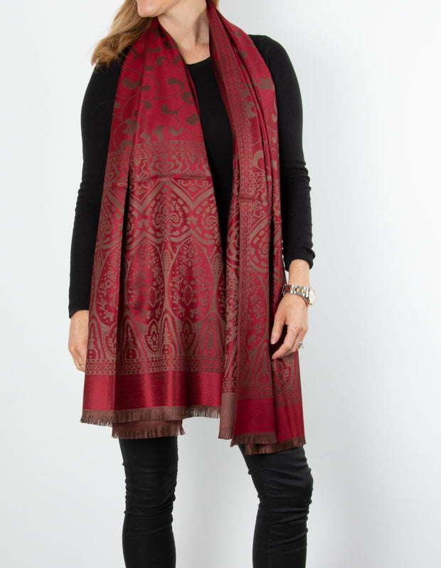 Red And Bronze Moroccan Print Pashmina