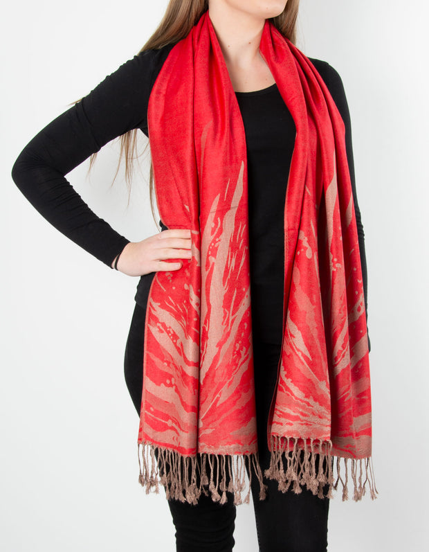Red And Bronze Splash Patterned Pashmina