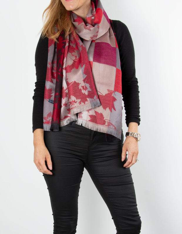 Red And Gold Leaf Print Patterned Pashmina