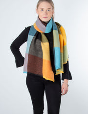Ribbed Scarf | Orange / Teal