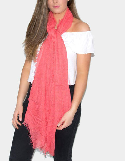 Coral Cotton Mix Scarf