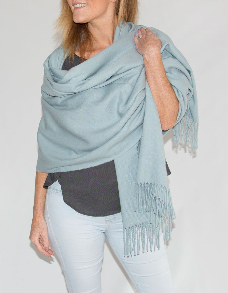 an image showing a winter pashmina in baby blue