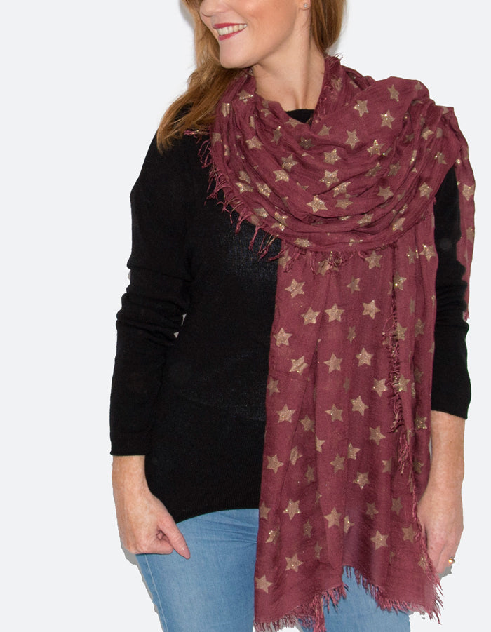 an image showing a burgundy star scarf