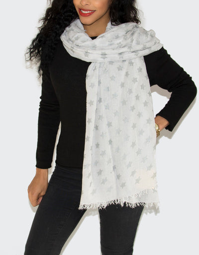 an image showing a white scarf with stars