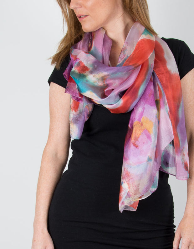 Image showing a Silk Scarf Floral Print Hot Pink