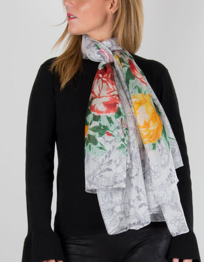 an image showing a white silk scarf with a floral print