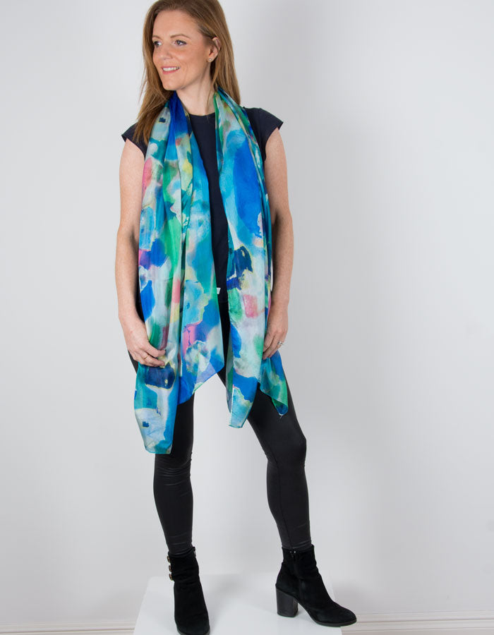 image showing floral print silk scarf