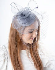 Silver Grey Net Fascinator