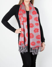 Silver Poppy Patterned Pashmina