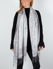 Image showing a Silver And Grey Leaf Print Border Pashmina
