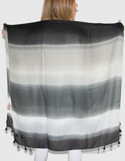 Image Showing Striped Scarf Black and White