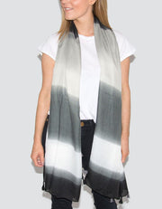 Image Showing Striped Scarf Black and Grey