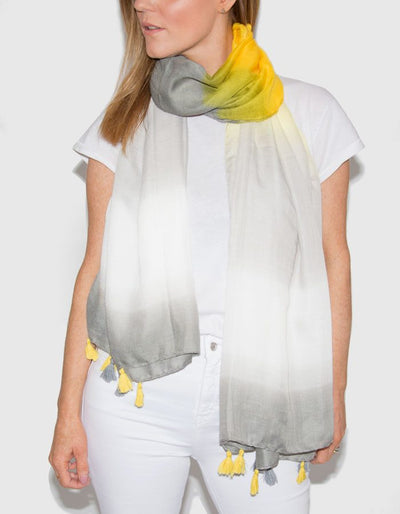Image Showing Striped Scarf Yellow and Grey